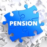 38016552 - pension on blue puzzle on white background.